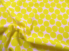Bullet Printed Liverpool Textured Fabric Stretch White Big Yellow Polka Dot N21