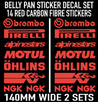 Motorbike Belly Pan Fairing Decals Stickers RED CARBON FIBRE SET OF 14 DECALS