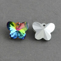100pcs Colorful Butterfly Glass Charms Pendants Beads for Jewelry Making 12x15mm