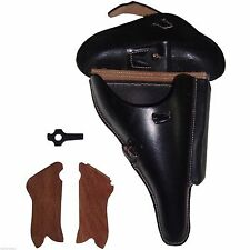P08 HARDSHELL LUGER HOLSTER BLACK LEATHER W/GRIP SHELL & TAKE TOOL - REPLICA