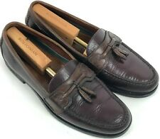 HS TRASK Mens Loafers Shoes Burgundy Brown Leather Tassel 11M