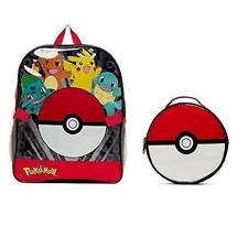 Pikachu Pokemon Backpack w/ detachable Pokeball Insulated Lunch Bag Combo