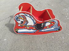 Vintage Rocking Horse Sleigh Childs' Riding Toy 1940-50 Litho Printed Horse