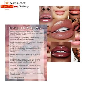 Lip filler Aftercare Cards client instructions leaflet customer card injections
