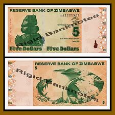 Zimbabwe 5 Dollars, 2009 P-93 Revised Trillion Unc