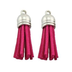30pcs RoseRed Suede Tassel Keychain Cellphone Straps Jewelry Earrings Charms #03