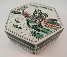 Antique Chinese Octagonal Ceramic Box Hand Painted Container China