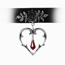 Stunning Alchemy Gothic - Wounded Love Black Rose and Heart Choker Necklace