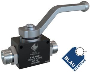 2/2 Wege metrische Hydraulik Kugelhahn Absperrhahn Hochdruck Gr.M14 bis M26 BLAU