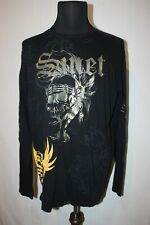 Smet Sz XL Black Gold Skull Long Sleeve T Shirt Christian Audigier