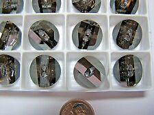 24 PCS SWAROVSKI BUTTONS/BEADS  #3016 16MM  CRYSTAL SATIN M-FOILED - GREY- ROUND