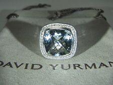DAVID YURMAN AUTHENTIC ALBION 14MM PRASIOLITE DIAMOND RING SIZE 6  D.Y. POUCH