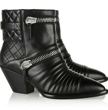 Giuseppe Zanotti Black Leather Moto Biker Ankle Boots Quilted Size 37 $1,595