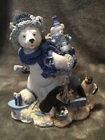 Christmas Santa Polar Bear With Penguins Collectible Statue