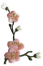 #3958PL Pink Quince Sakura Flower Embroidery Iron On Applique Patch