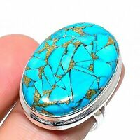 Copper Turquoise Handmade 925 Silver Jewelry Ring Size 8 AD4964