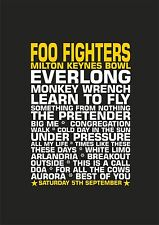 Foo Fighters Set List Poster Milton Keynes Bowl Saturday 5th September 2015