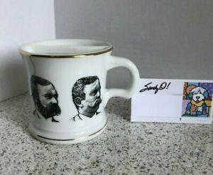 LEFTY MUSTACHE COFFEE MUG w/GUARD White & Black w/Gold Trim NEW