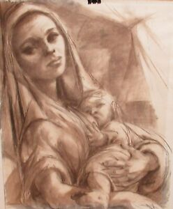 """NEATHERY """"MOTHER AND CHILD"""" ORIGINAL PENCIL AND WATERCOLOR PAINTING"""