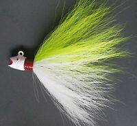 5 Hotlip Ruby Lip Musky Striped Bass Fluke Bucktail Jig Head Lures - Wh/Char