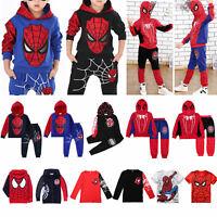 Bambini Spiderman Maglia Felpe con Cappuccio Sport T-Shirt Pantaloni Tuta Set