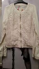 """WOMEN IVORY JACKET/COAT """"BLUE DEISE FASHION"""" PU soft Leather&croshet detail S-M"""