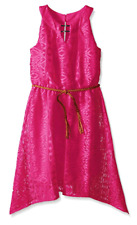 Amy Byer Big Girls Lace Dress with Braided Belt, Hot Pink, 16