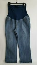 Motherhood Maternity Jeans Crop Blue Med Wash Over the Belly Straight Leg Sz PXL