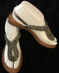 NAUGHTY MONKEY-Size 6.5M-Brown Leather-Gold,Gray,Clear Rhinestones-Adj Strap
