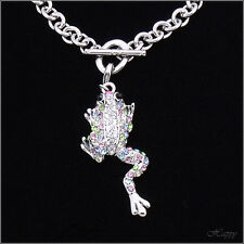 Smart Frog Animal Toad Charm Bracelet Jewelry Austrian Crystal Multicolor Silver
