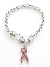 Pink Ribbon Breast Cancer Awareness Silver Crystal Bracelet Jewelry