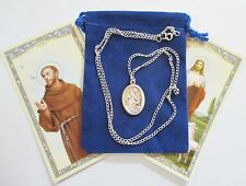 St. Francis Petting Wolf Saint Medal & 24 Inch Necklace