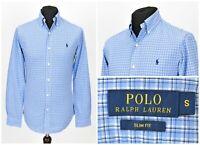 Mens Polo Ralph Lauren Slim Fit Shirt Blue Long Sleeve Check Size S