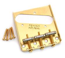 Genuine Fender Gold Vintage 3-saddle Telecaster/Tele Bridge 099-0806-200