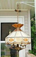 Vintage 1950s - 60s Era MCM Leaded Slag Glass Electric Hanging Lamp Chandelier
