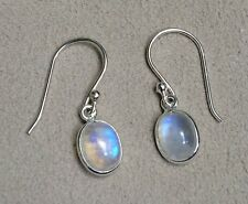 Handmade in 925 Sterling Silver, Rainbow Moonstone Oval Drop Earrings With Bag