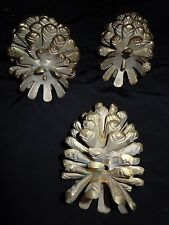 3 Handcrafted Heavy Brass Candle Holders Pine Cone Cones EUC