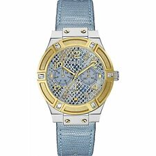 GUESS Women's W0289L2 Chronograph Blue Leather Watch With 3 Years Warranty