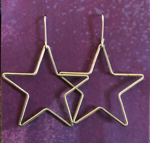 "Sterling Silver Earrings Star Shaped Wire 1.75"" 2g 925 #1871"