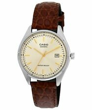 Casio Men's Analogue Brown Leather Quartz Watch with Gold Dial