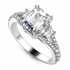2.55 Ct VVS1 Emerald Cut Solitaire Diamond Engagement Ring 14K White Gold Rings