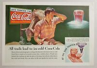 1935 Print Ad Coca-Cola Soda Pop Man Dreams of Coke from Soda Fountain