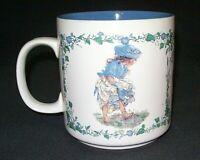Vintage Little Girl Outside Blue Flowers Coffee Tea Cup Mug 1991 Pictura  Sweden
