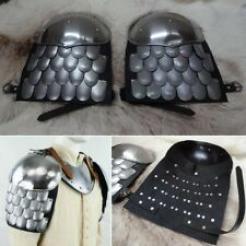 18 Gauge Leather Backed Scale Armour Pauldrons Perfect For LARP & Re-enactment