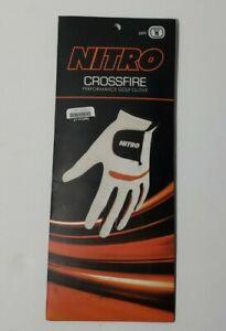 NEW-Nitro Crossfire Performance Golf Glove- Men's Left Hand-White/Orange-Medium