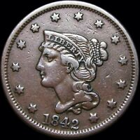 1842 Braided Hair Large Cent  ---- NICE Type Coin  ----- #D063