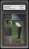 TIGER WOODS 2001 SP AUTHENTIC USA/GOLF/MASTERS/PGA 1ST GRADED 10 ROOKIE CARD RC