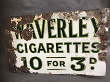 Antique Enamel Sign Advertising Sign Waverley Cigarettes Double Sided C1920