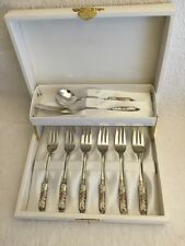 Japanese silver-plated enamel dessert fork set, sugar spoon and butter spreader