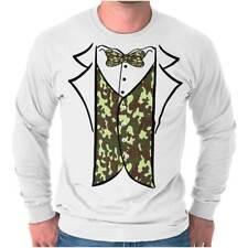 Redneck Camo Printed Tuxedo Bachelor Party Long Sleeve T-Shirts Tees For Men